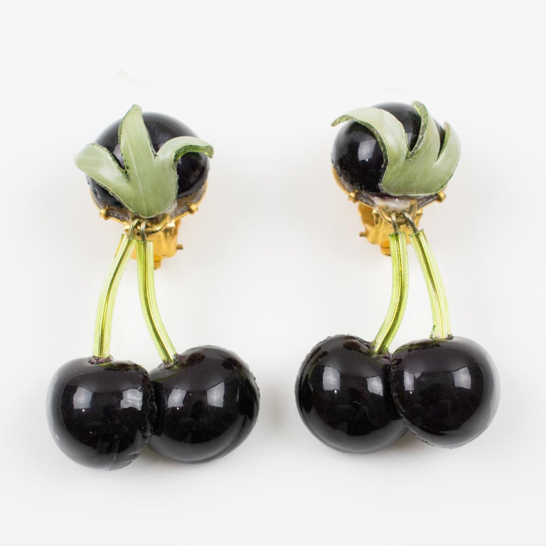 Francoise Montague Paris Clip Earrings Resin Black Cherries In Excellent Condition For Sale In Atlanta, GA