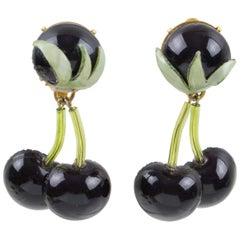 Francoise Montague Paris Clip Earrings Resin Black Cherries