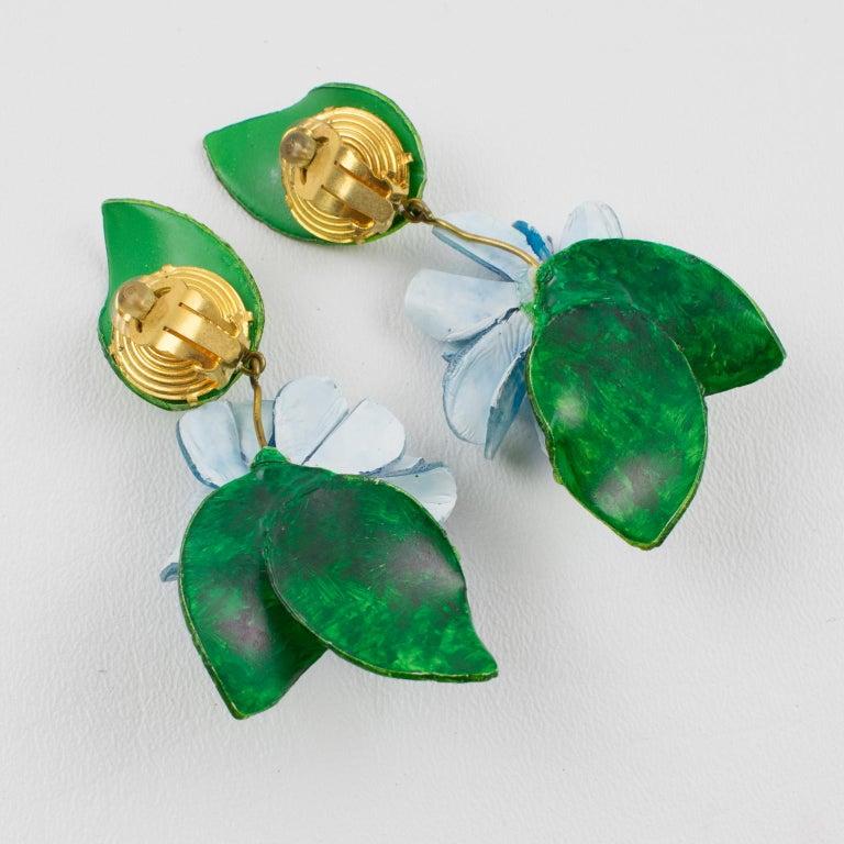 Women's Francoise Montague Paris Clip Earrings Resin Blue Hydrangea Flower For Sale
