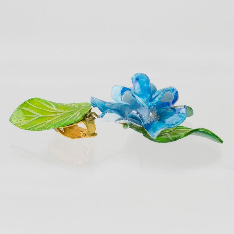 Francoise Montague Paris Clip Earrings Resin Blue Hydrangea Flower For Sale 1