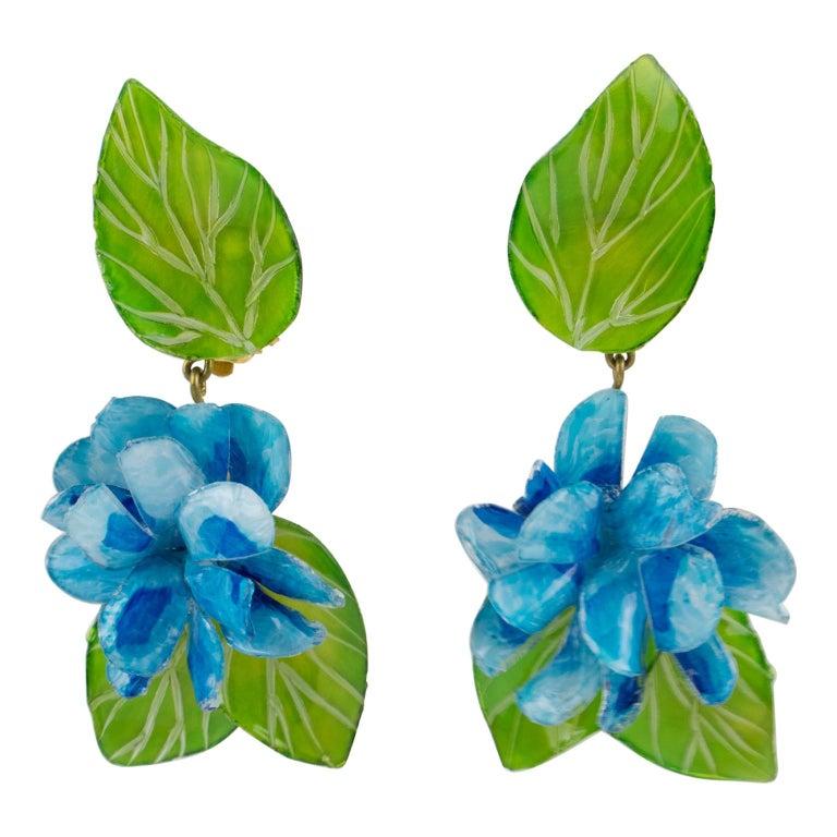 Francoise Montague Paris Clip Earrings Resin Blue Hydrangea Flower For Sale