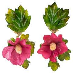 Francoise Montague Paris Clip Earrings Resin Hibiscus Flower