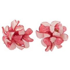 Francoise Montague Paris Clip Earrings Resin Pink Rose