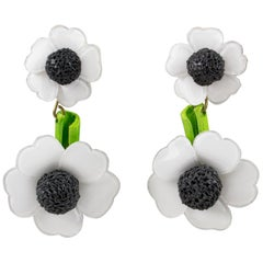 Francoise Montague Paris Clip Earrings Resin White Daisy Flower