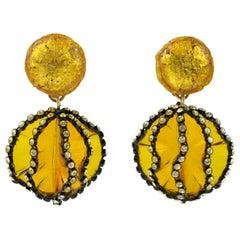 Francoise Montague Paris Dangle Clip Earrings Yellow Flower Resin