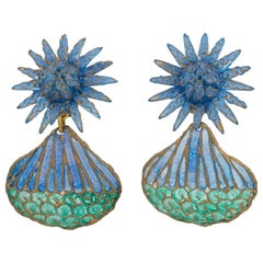 Francoise Montague Paris Dangle Resin Clip Earrings Blue Turquoise Flower