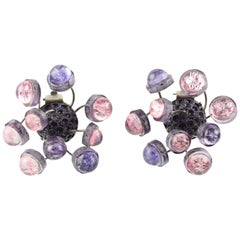 Francoise Montague Paris Resin Talosel Clip-On Earrings Purple Pink Sputnik