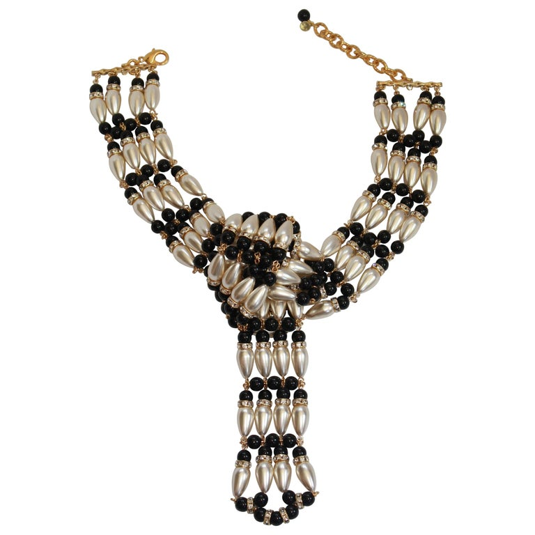 Francoise Montague Pearl and Crystal Knot Choker Necklace For Sale