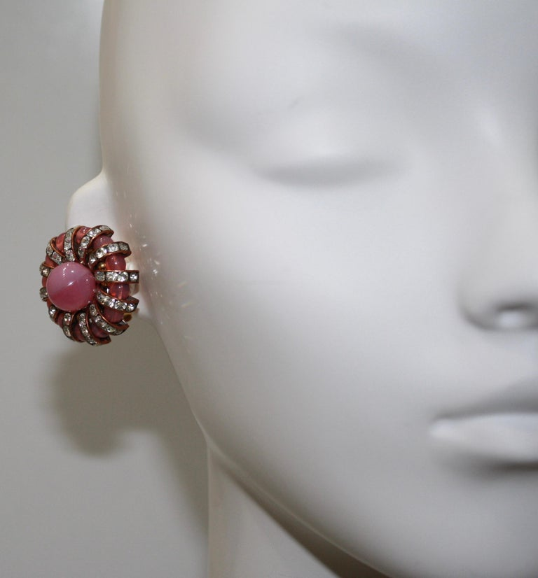 Modern Françoise Montague  Pink Cabochons Clip Earrings  For Sale