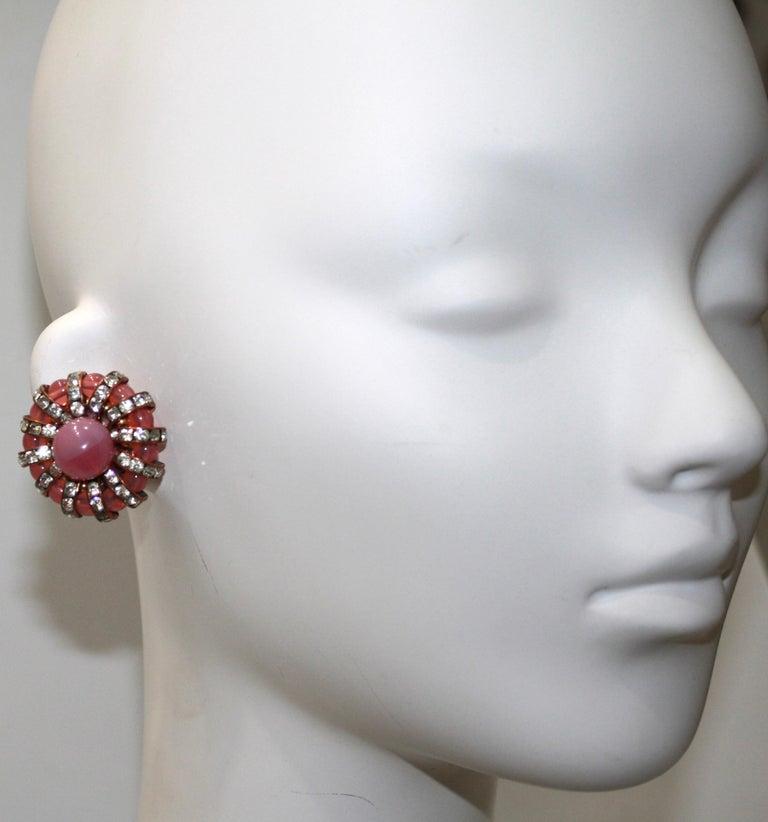 Women's Françoise Montague  Pink Cabochons Clip Earrings  For Sale
