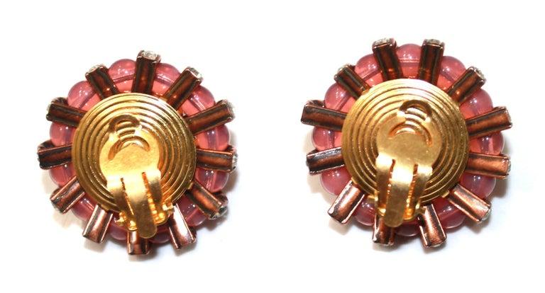 Françoise Montague  Pink Cabochons Clip Earrings  For Sale 1