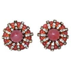Françoise Montague  Pink Cabochons Clip Earrings