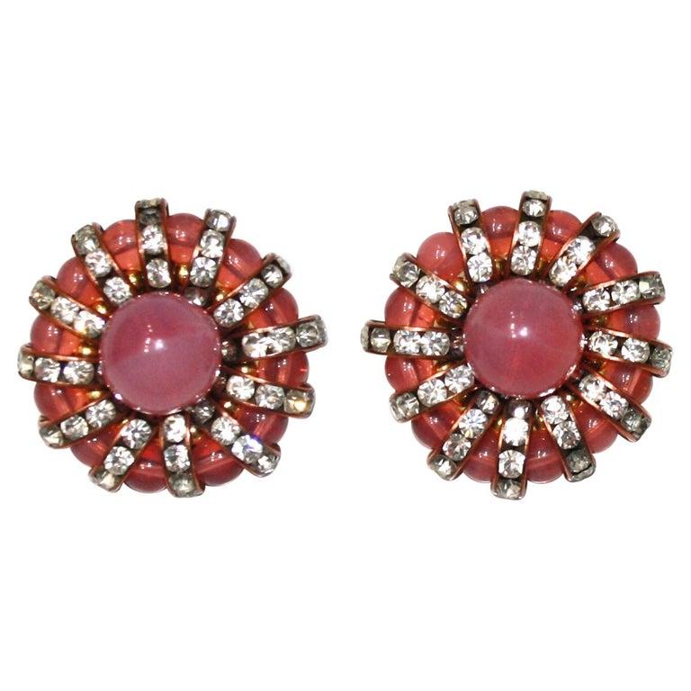 Françoise Montague  Pink Cabochons Clip Earrings  For Sale