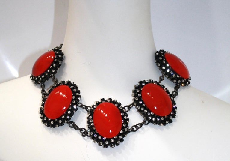 Francoise Montague Red Agate, Swarovski Crystal, and Black Rhodium Necklace In New Condition For Sale In Virginia Beach, VA
