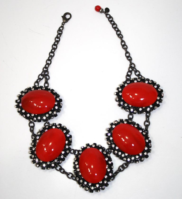 Women's or Men's Francoise Montague Red Agate, Swarovski Crystal, and Black Rhodium Necklace For Sale
