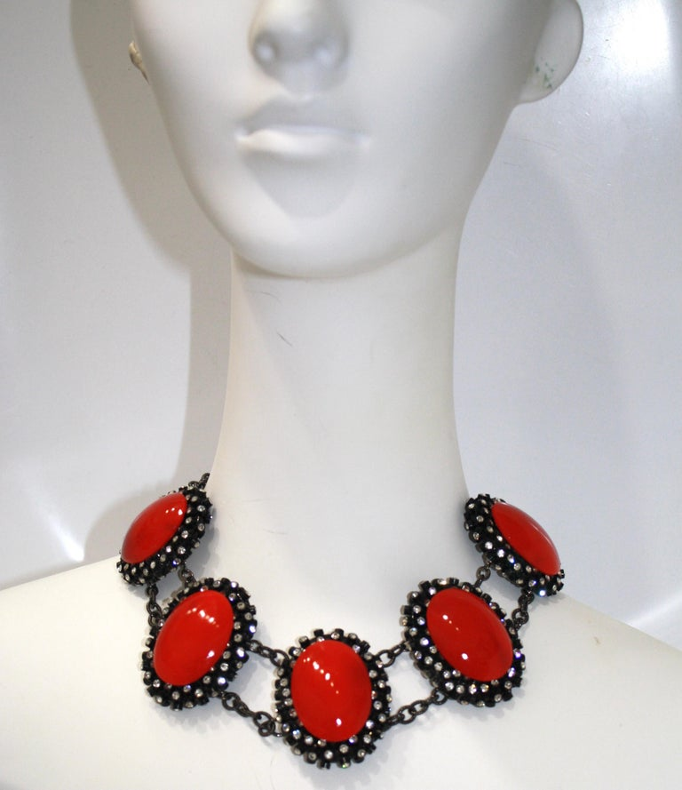 Francoise Montague Red Agate, Swarovski Crystal, and Black Rhodium Necklace For Sale 1