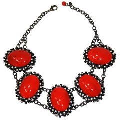 Francoise Montague Red Agate, Swarovski Crystal, and Black Rhodium Necklace