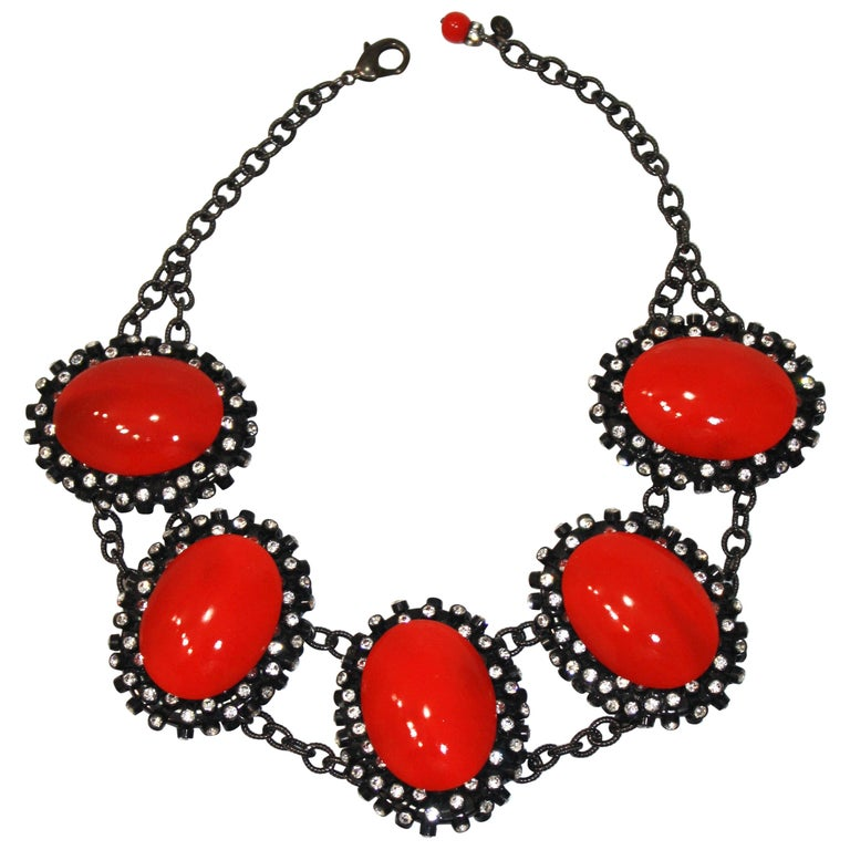 Francoise Montague Red Agate, Swarovski Crystal, and Black Rhodium Necklace For Sale
