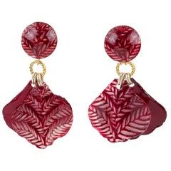 Francoise Montague Resin Clip Earrings Dangle Burgundy Petal