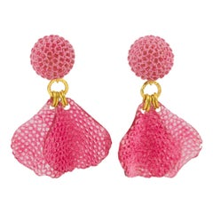 Francoise Montague Resin Clip Earrings Dangle Pink Petal