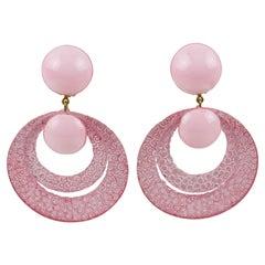 Francoise Montague Resin Clip Earrings Dangle Powder Pink Rings