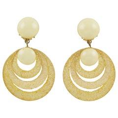 Francoise Montague Resin Clip Earrings Dangle Yellow Rings