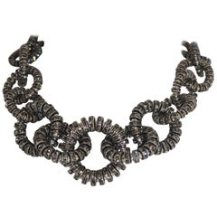 Francoise Montague Silver and Grey Crystal Link Choker Necklace