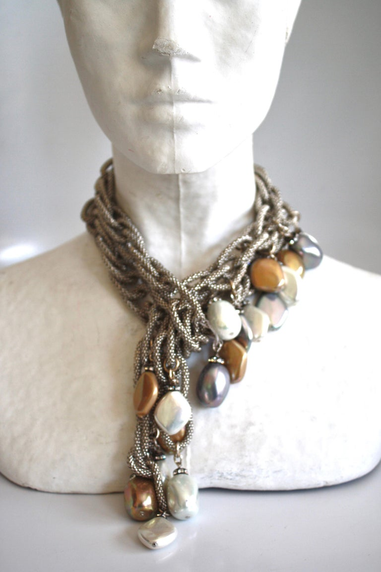 Gorgeous chain necklace with glass pearls and Venetian glass beads from Francoise Montague.