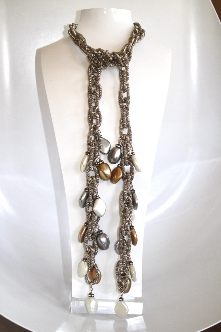 Women's or Men's Francoise Montague Silver Chain and Venetian Glass Lariat For Sale