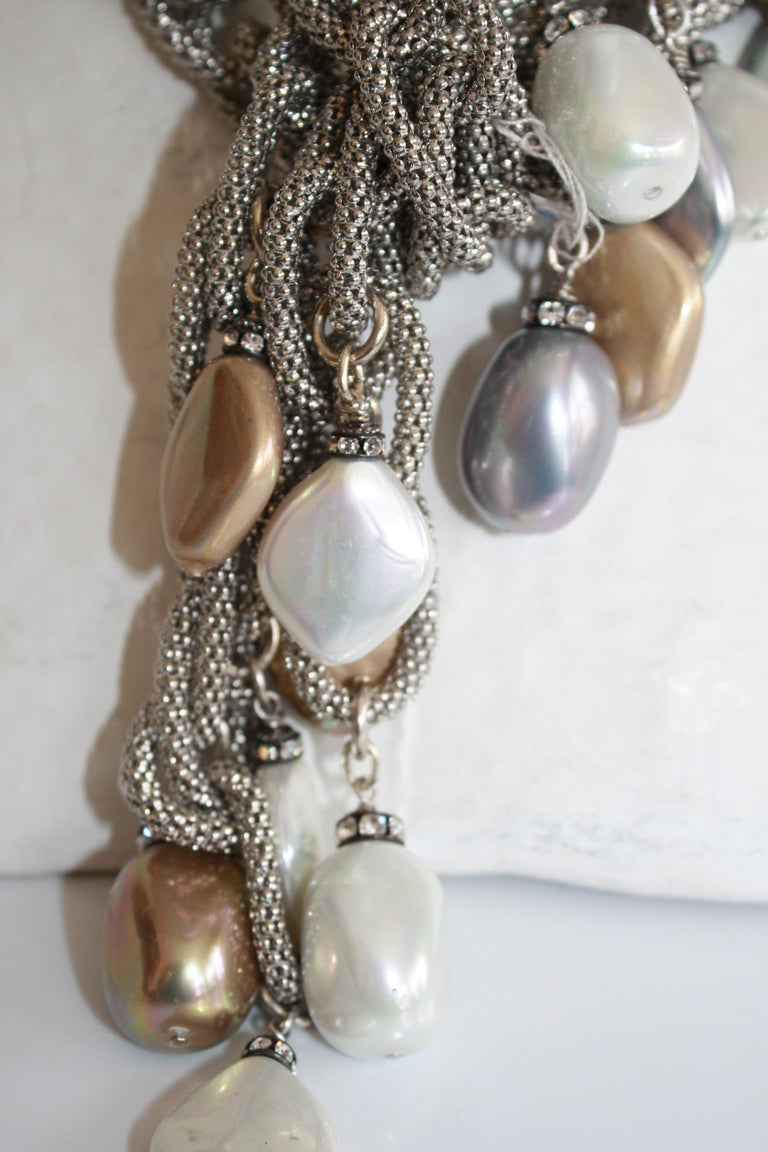 Francoise Montague Silver Chain and Venetian Glass Lariat For Sale 1