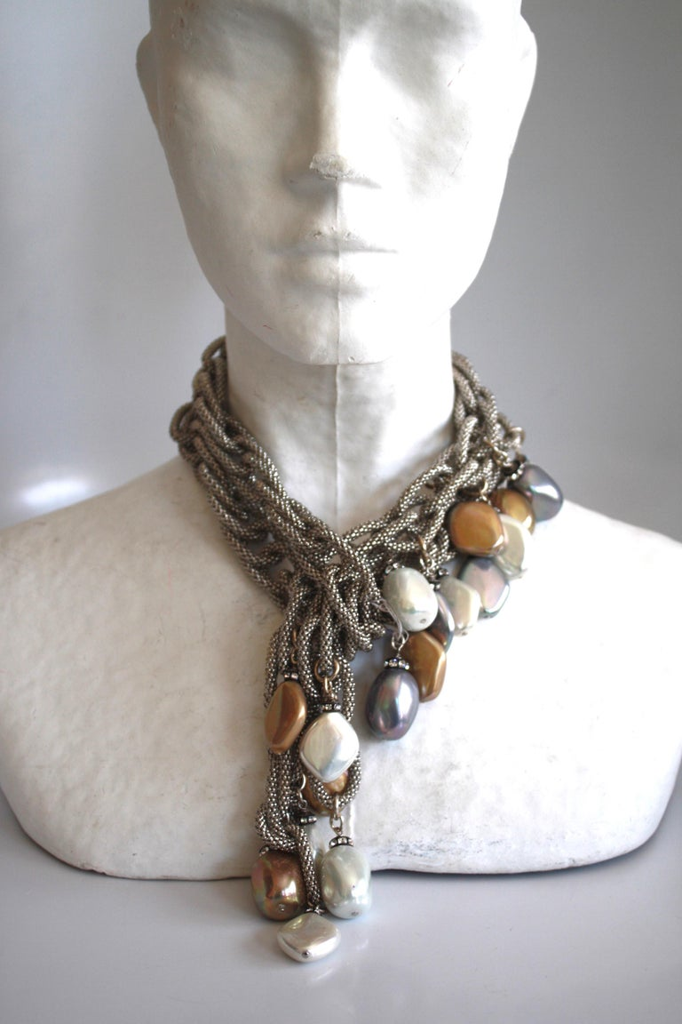 Francoise Montague Silver Chain and Venetian Glass Lariat For Sale 2