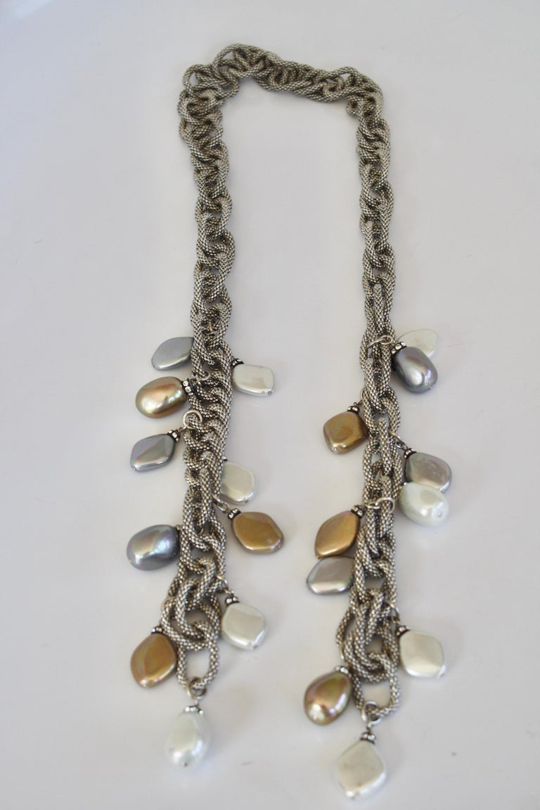 Francoise Montague Silver Chain and Venetian Glass Lariat For Sale 3