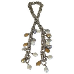 Francoise Montague Silver Chain and Venetian Glass Lariat