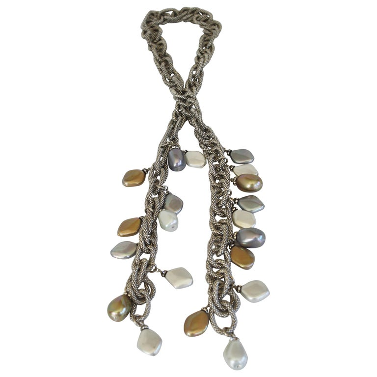 Francoise Montague Silver Chain and Venetian Glass Lariat For Sale