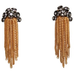 Francoise Montague Swarovski Crystal and Gold Tassel Clips