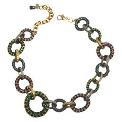 Francoise Montague Swarovski Crystal , Gold and Rhodium Embossed Metal Necklace