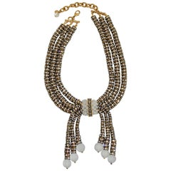 Francoise Montague Triple Row Crystal Rondelle and Glass Drop Necklace