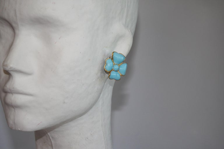 Turquoise poured glass clover clip earrings from French design house Francoise Montague.