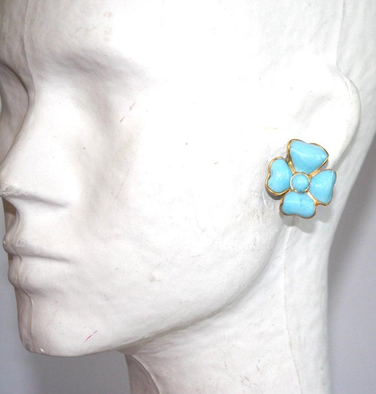 Women's Francoise Montague Turquoise Amalfi Clover Clip Earrings For Sale