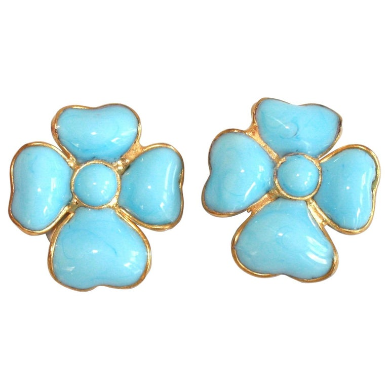Francoise Montague Turquoise Amalfi Clover Clip Earrings For Sale