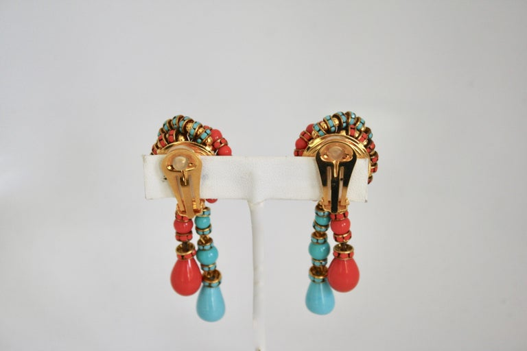 Francoise Montague Turquoise and Orange Clips In New Condition For Sale In Virginia Beach, VA