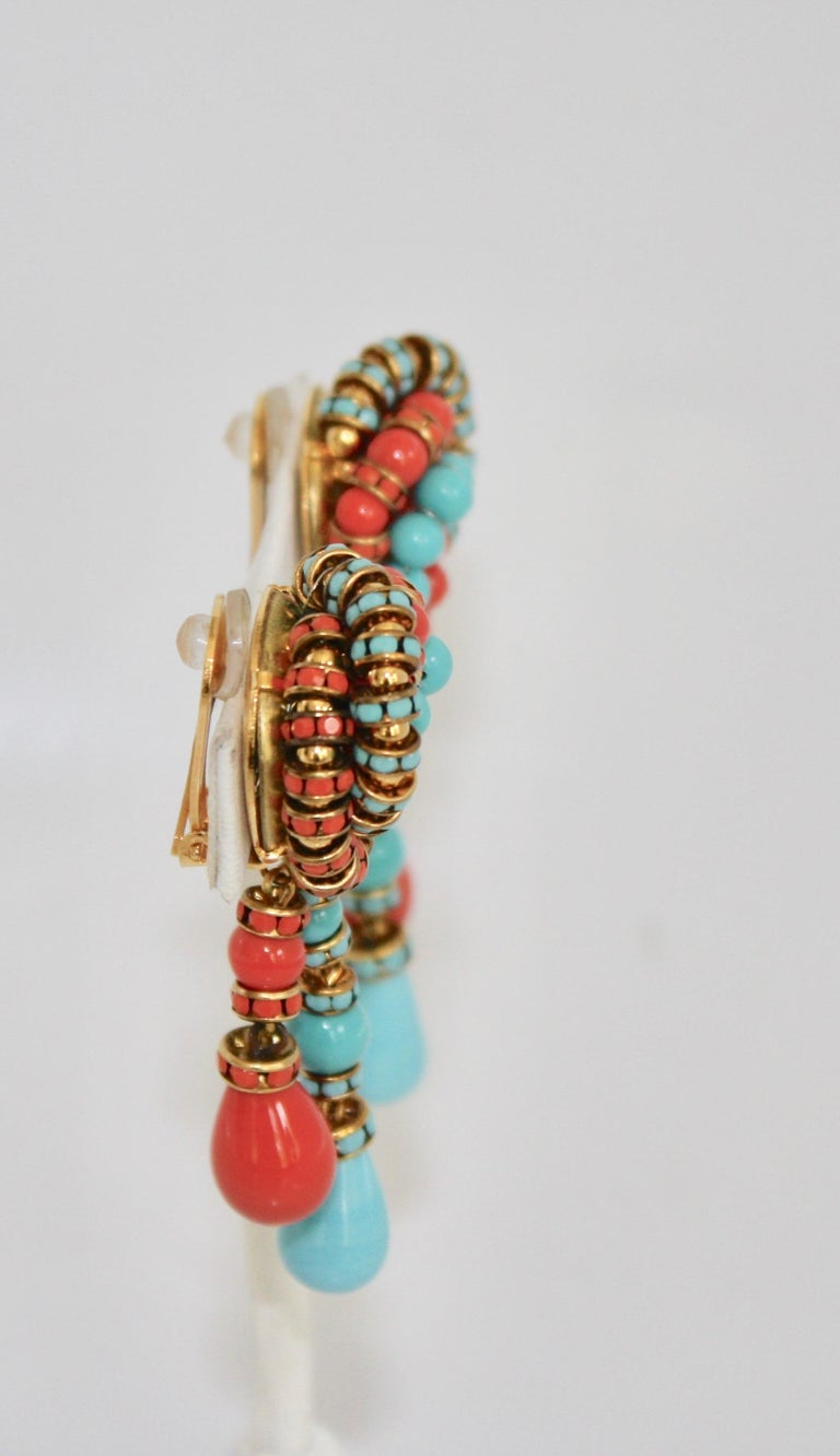 Women's Francoise Montague Turquoise and Orange Clips For Sale