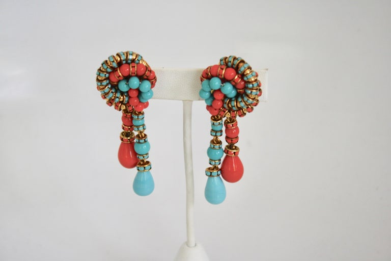 Francoise Montague Turquoise and Orange Clips For Sale 1