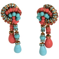 Francoise Montague Turquoise and Orange Clips