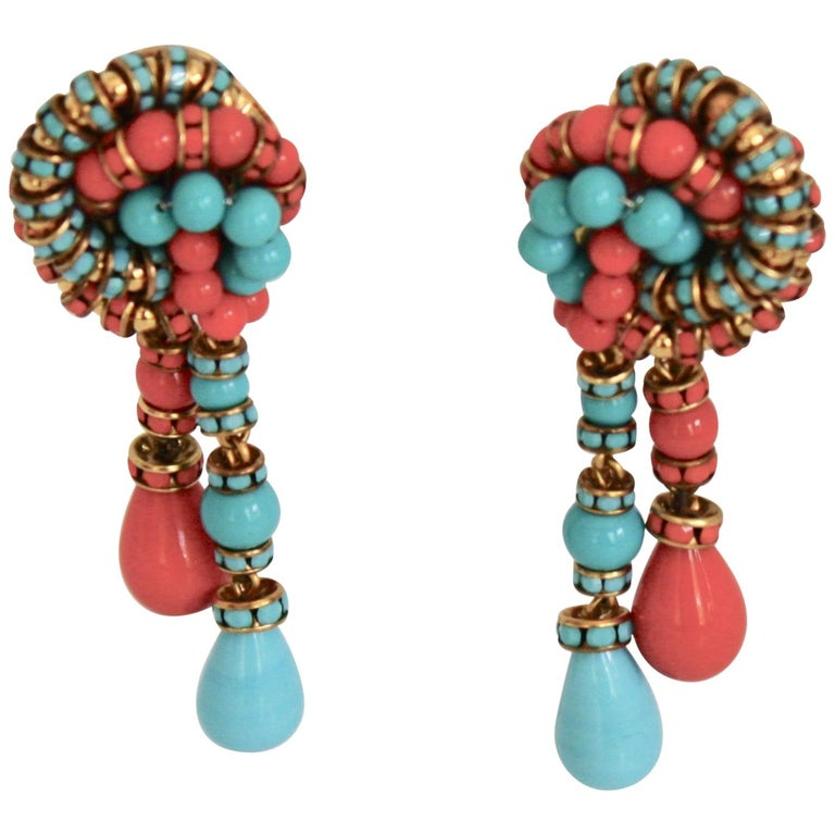 Francoise Montague Turquoise and Orange Clips For Sale