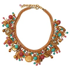 Francoise Montague Turquoise and Pink Charm Choker