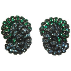 Francoise Montague Twist Clips in Swarovski Crystal and Black Rhodium