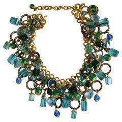 Francoise Montague Unique Vintage Glass Charm necklace .