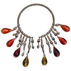 Francoise Montague Venetian Glass and Swarovski Crystal Graduated Necklace