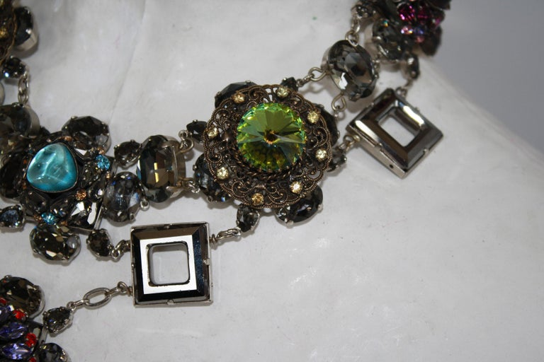 Vintage glass and Swarovski crystal limited series necklace by Francoise Montague.